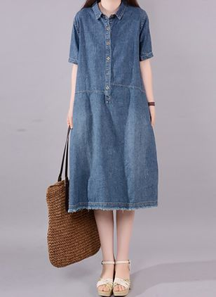 A-line Dress Collar Denim Dress (4456719)