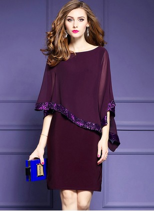 Polyester Solid Half Sleeve Above Knee Dresses
