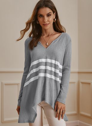 V-Neckline Color Block Casual Loose Regular Shift Sweaters (107423178)