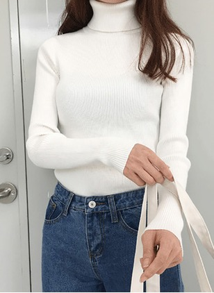 Cotton High Neckline Solid Casual None Sweaters