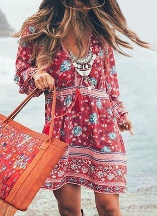 Floral Long Sleeve Above Knee Shift Dress