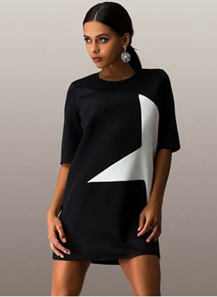 Polyester Geometric Half Sleeve Mini Dresses