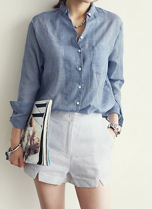 Solid Casual Cotton Linen Collar Long Sleeve Blouses