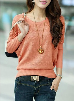 Cotton Blends Round Neckline Solid Bat Shirt Hollow Out Sweaters