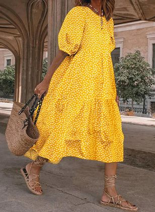 Casual Polka Dot Tunic Round Neckline A-line Dress (147927810)