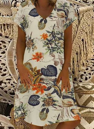 Casual Floral Tunic V-Neckline A-line Dress (4080191)