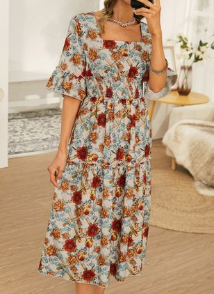 Casual Floral Square Neckline Maxi X-line Dress (146834241)
