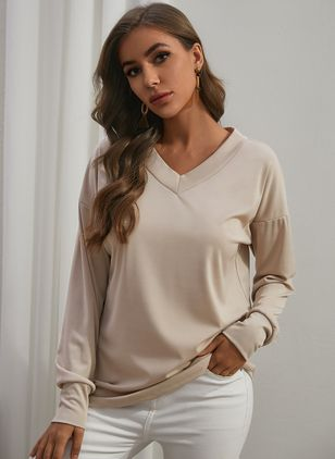 Solid Casual V-Neckline Long Sleeve Blouses (146650575)