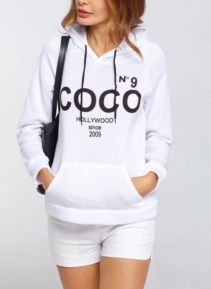 Alphabet Casual Cotton Hooded Pockets Sweatshirts