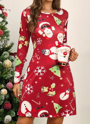 Christmas Character Round Neckline Above Knee X-line Dress (128228999)