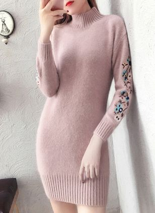 High Neckline Floral Tight Long Sweaters