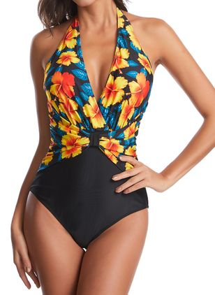 Polyester Halter Floral One-piece Swimwear (1474400)