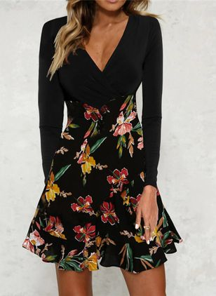 Casual Floral V-Neckline Mini X-line Dress (102931162)