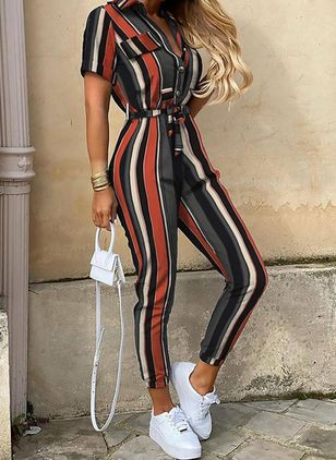 Casual Straight Buttons High Waist Polyester Jumpsuits (146980306)