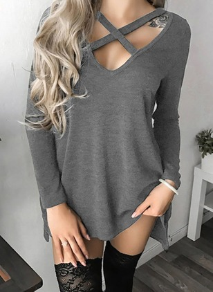Solid Casual Cotton Others Long Sleeve Blouses