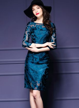 Floral Pencil 3/4 Sleeves Above Knee Sheath Dress