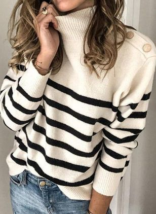 High Neckline Stripe Casual Loose Regular Buttons Sweaters (100037824)