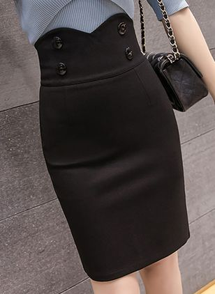 Solid Above Knee Sexy Buttons Skirts