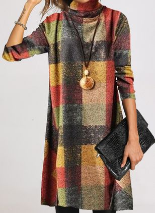 Casual Color Block Tunic High Neckline Shift Dress