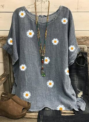 Floral Round Neck Half Sleeve Casual T-shirts (146964374)