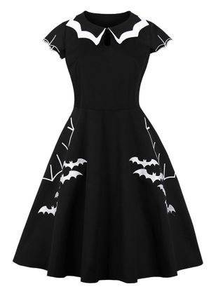 Halloween Animal Skater Round Neckline X-line Dress (108859330)