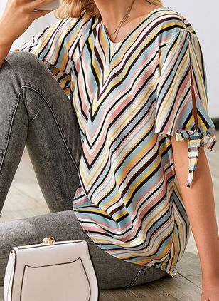 Stripe Casual Round Neckline Short Sleeve Blouses (4864341)