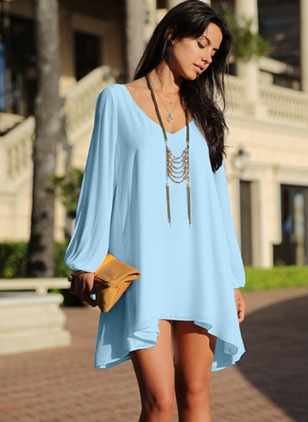 Chiffon Solid Long Sleeve Above Knee Shift Dress