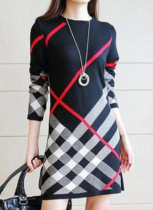 Casual Plaid Pencil Round Neckline Bodycon Dress (146862738)