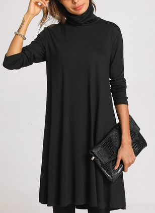 Casual Solid Long Sleeve Knee-Length Dress