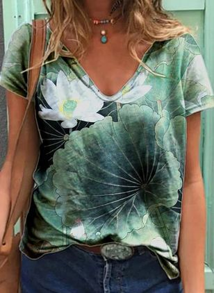 Floral V-Neckline Short Sleeve Casual T-shirts (147192170)