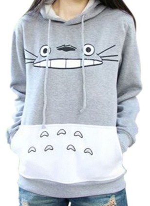 Character Casual Cotton Hooded Pockets Sweatshirts