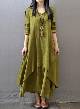 Cotton Solid Long Sleeve Maxi A-line Dress