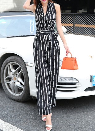 Polyester Stripe Sleeveless Jumpsuits & Rompers