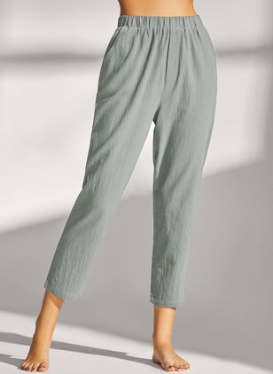 Casual Straight Pockets Mid Waist Cotton Pants (4864596)