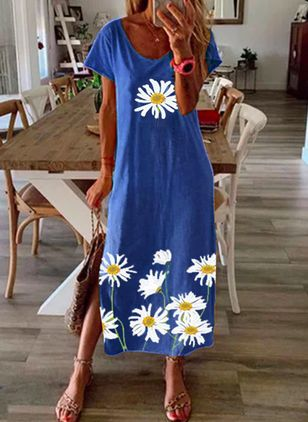 Casual Floral Tunic Round Neckline A-line Dress (1539870)