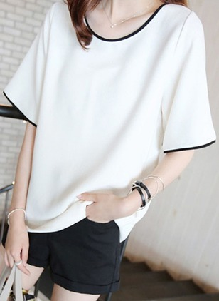 Cotton Solid Round Neck Short Sleeve Elegant T-shirts