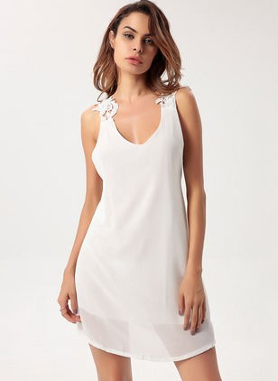 Polyester Solid Sleeveless Mini Dresses
