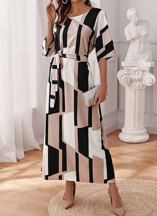 Casual Color Block Round Neckline Maxi X-line Dress (146979472)