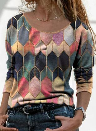 Color Block Casual Round Neckline Long Sleeve Blouses (146719290)