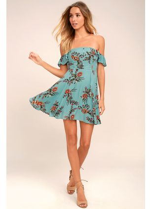 Floral Skater Short Sleeve Above Knee X-line Dress