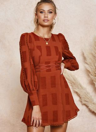 Solid Long Sleeve Above Knee X-line Dress