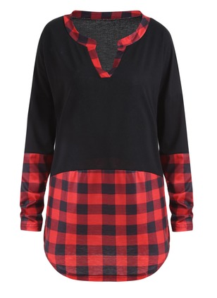Cotton Check V-Neckline Long Sleeve Casual T-shirts
