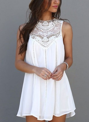 Solid Lace Sleeveless Mini Shift Dress