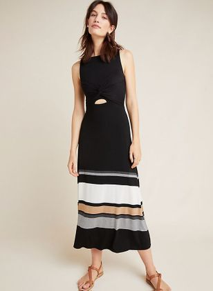 Color Block Sleeveless Midi X-line Dress