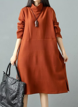 Solid Long Sleeve Midi Shift Dress