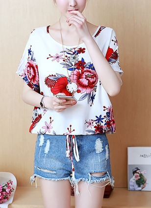 Cotton Floral Round Neck Short Sleeve Casual T-shirts