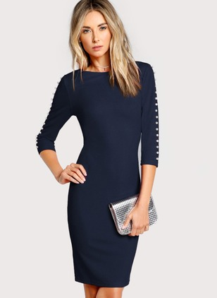 Solid Beading Pencil Knee-Length Sheath Dress
