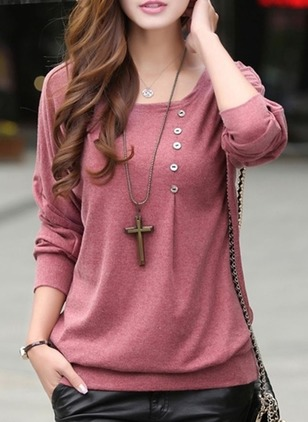 Cotton Solid Round Neck Long Sleeve Cute T-shirts