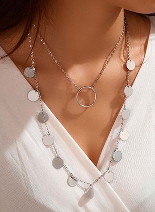 Casual Round No Stone Pendant Necklaces (4048210)