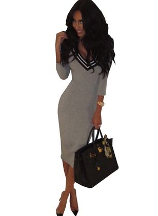 Color Block Long Sleeve Midi Sheath Dress